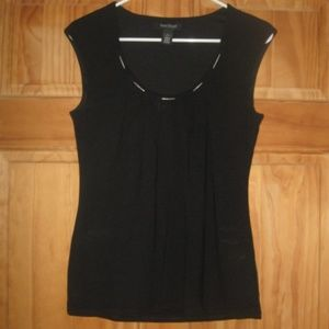 Womens WHBM Black w/Silver Neck Lining Top